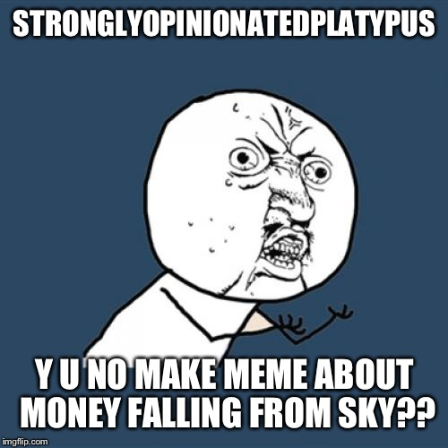 Y U No Meme | STRONGLYOPINIONATEDPLATYPUS Y U NO MAKE MEME ABOUT MONEY FALLING FROM SKY?? | image tagged in memes,y u no | made w/ Imgflip meme maker