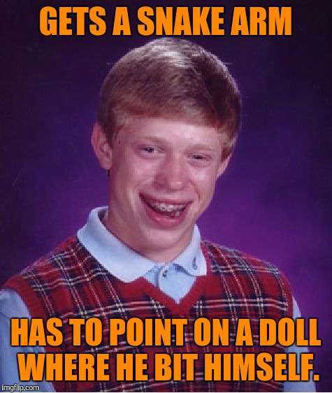 Bad Luck Brian Meme | GETS A SNAKE ARM HAS TO POINT ON A DOLL WHERE HE BIT HIMSELF. | image tagged in memes,bad luck brian | made w/ Imgflip meme maker