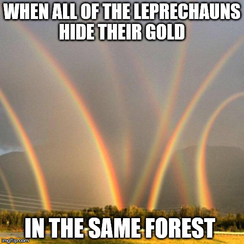 these must be a lot of gold in that forest | WHEN ALL OF THE LEPRECHAUNS HIDE THEIR GOLD IN THE SAME FOREST | image tagged in rainbows,pot of gold | made w/ Imgflip meme maker