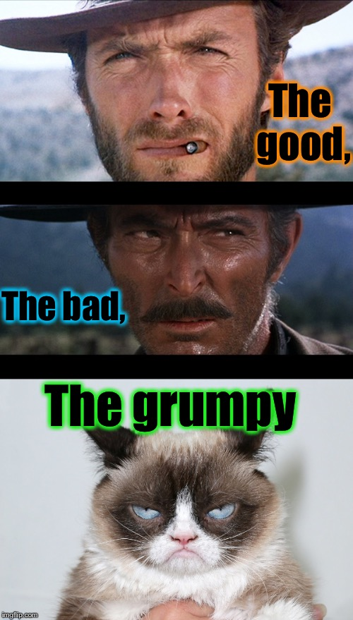 Remember this classic?......  | The good, The bad, The grumpy | image tagged in clint eastwood,memes,repost,funny memes,funny,evilmandoevil | made w/ Imgflip meme maker