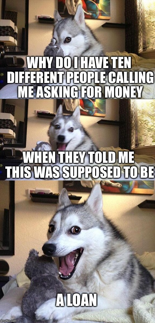 Bad Pun Dog Meme | WHY DO I HAVE TEN DIFFERENT PEOPLE CALLING ME ASKING FOR MONEY A LOAN WHEN THEY TOLD ME THIS WAS SUPPOSED TO BE | image tagged in memes,bad pun dog | made w/ Imgflip meme maker