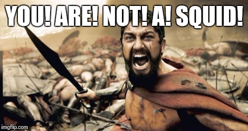 Sparta Leonidas Meme | YOU! ARE! NOT! A! SQUID! | image tagged in memes,sparta leonidas | made w/ Imgflip meme maker