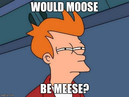 Futurama Fry Meme | WOULD MOOSE BE MEESE? | image tagged in memes,futurama fry | made w/ Imgflip meme maker
