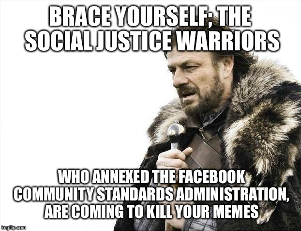 Brace Yourselves X is Coming Meme | BRACE YOURSELF; THE SOCIAL JUSTICE WARRIORS WHO ANNEXED THE FACEBOOK COMMUNITY STANDARDS ADMINISTRATION, ARE COMING TO KILL YOUR MEMES | image tagged in memes,brace yourselves x is coming | made w/ Imgflip meme maker