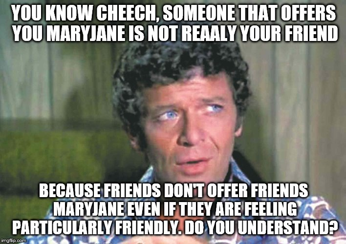 YOU KNOW CHEECH, SOMEONE THAT OFFERS YOU MARYJANE IS NOT REAALY YOUR FRIEND BECAUSE FRIENDS DON'T OFFER FRIENDS MARYJANE EVEN IF THEY ARE FE | made w/ Imgflip meme maker