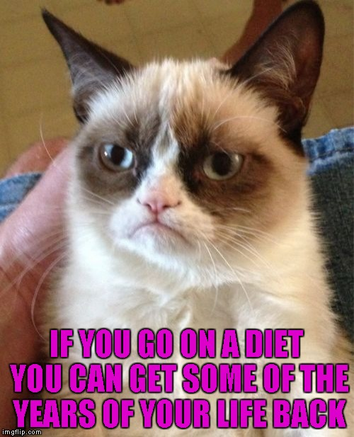 Grumpy Cat Meme | IF YOU GO ON A DIET YOU CAN GET SOME OF THE YEARS OF YOUR LIFE BACK | image tagged in memes,grumpy cat | made w/ Imgflip meme maker