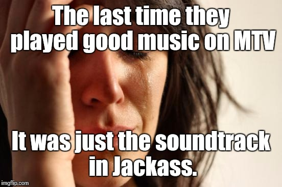 First World Problems Meme | The last time they played good music on MTV It was just the soundtrack in Jackass. | image tagged in memes,first world problems | made w/ Imgflip meme maker