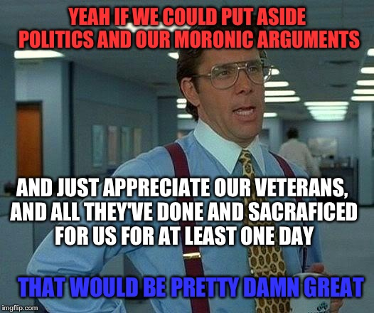 If you're a veteran, a friend of a veteran or related to a veteran, please post it in the comments so we can thank them. | YEAH IF WE COULD PUT ASIDE POLITICS AND OUR MORONIC ARGUMENTS AND JUST APPRECIATE OUR VETERANS, AND ALL THEY'VE DONE AND SACRAFICED FOR US F | image tagged in memes,that would be great,memorial day | made w/ Imgflip meme maker