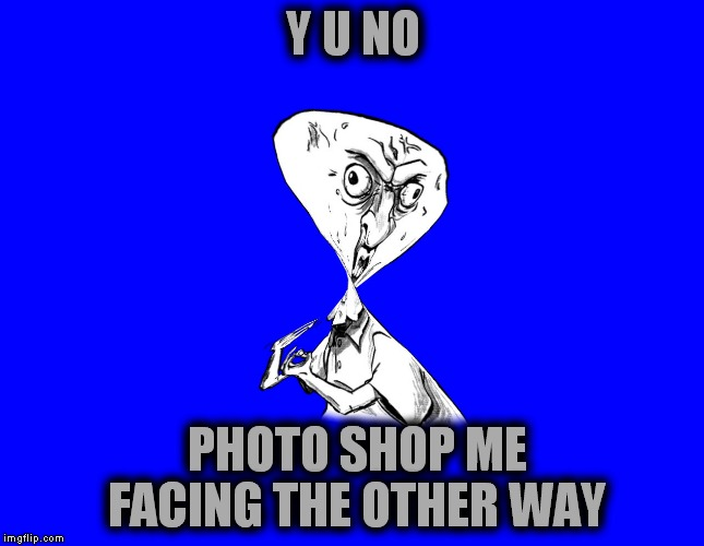 A twisted  Y U NO | Y U NO PHOTO SHOP ME FACING THE OTHER WAY | image tagged in y u no,twisted,memestrocity | made w/ Imgflip meme maker
