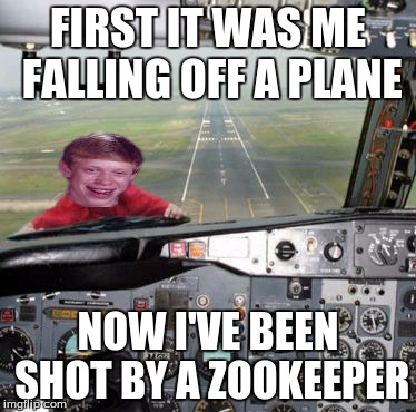 FIRST IT WAS ME FALLING OFF A PLANE NOW I'VE BEEN SHOT BY A ZOOKEEPER | made w/ Imgflip meme maker