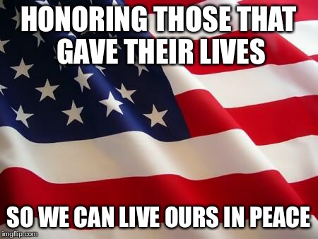 American flag | HONORING THOSE THAT GAVE THEIR LIVES SO WE CAN LIVE OURS IN PEACE | image tagged in american flag | made w/ Imgflip meme maker