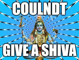 Shiva | COULNDT GIVE A SHIVA | image tagged in shiva | made w/ Imgflip meme maker
