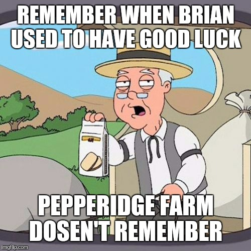 REMEMBER WHEN BRIAN USED TO HAVE GOOD LUCK PEPPERIDGE FARM DOSEN'T REMEMBER | made w/ Imgflip meme maker
