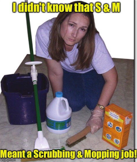 I didn't know that S & M Meant a Scrubbing & Mopping job! | made w/ Imgflip meme maker