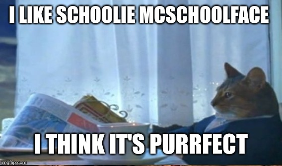 I LIKE SCHOOLIE MCSCHOOLFACE I THINK IT'S PURRFECT | made w/ Imgflip meme maker