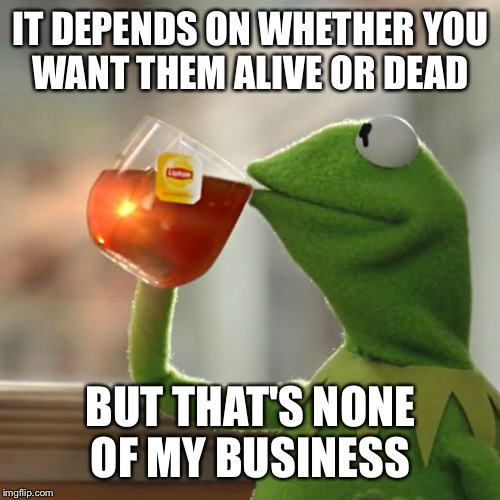 But Thats None Of My Business Meme | IT DEPENDS ON WHETHER YOU WANT THEM ALIVE OR DEAD BUT THAT'S NONE OF MY BUSINESS | image tagged in memes,but thats none of my business,kermit the frog | made w/ Imgflip meme maker