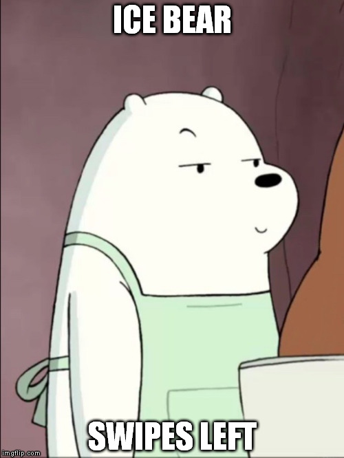 It was a pic...of your mom | ICE BEAR SWIPES LEFT | image tagged in we bare bears ice bear smug,memes,tinder,incessant douchebaggery | made w/ Imgflip meme maker