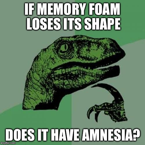 Questions like this is what keeps me up at night |  IF MEMORY FOAM LOSES ITS SHAPE; DOES IT HAVE AMNESIA? | image tagged in memes,philosoraptor,memory,memory foam,amnesia,lol | made w/ Imgflip meme maker