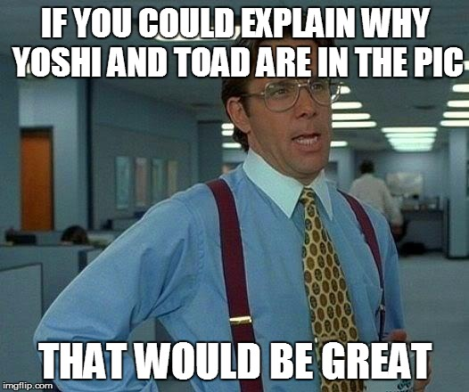 That Would Be Great Meme | IF YOU COULD EXPLAIN WHY YOSHI AND TOAD ARE IN THE PIC THAT WOULD BE GREAT | image tagged in memes,that would be great | made w/ Imgflip meme maker