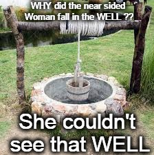 All's WELL, that ends WELL. | WHY did the near sided Woman fall in the WELL ?? She couldn't see that WELL | image tagged in ill just wait here,love is blind,blindspot,blind,awkward,this is awkward | made w/ Imgflip meme maker