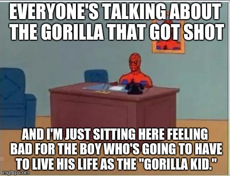 That kid will be bullied a lot if his classmates find out about it... | EVERYONE'S TALKING ABOUT THE GORILLA THAT GOT SHOT AND I'M JUST SITTING HERE FEELING BAD FOR THE BOY WHO'S GOING TO HAVE TO LIVE HIS LIFE AS | image tagged in memes,spiderman computer desk,spiderman,cincinnati,gorilla | made w/ Imgflip meme maker