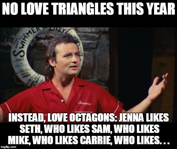 Summer Camp Problems Bill Murray |  NO LOVE TRIANGLES THIS YEAR; INSTEAD, LOVE OCTAGONS: JENNA LIKES SETH, WHO LIKES SAM, WHO LIKES MIKE, WHO LIKES CARRIE, WHO LIKES. . . | image tagged in summer camp problems bill murray | made w/ Imgflip meme maker