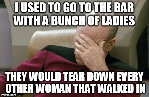 Captain Picard Facepalm Meme | I USED TO GO TO THE BAR WITH A BUNCH OF LADIES THEY WOULD TEAR DOWN EVERY OTHER WOMAN THAT WALKED IN | image tagged in memes,captain picard facepalm | made w/ Imgflip meme maker