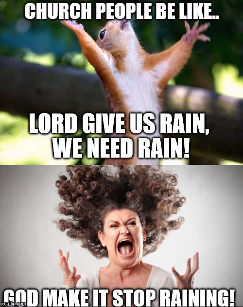 Praying Squirrel |  CHURCH PEOPLE BE LIKE.. LORD GIVE US RAIN, WE NEED RAIN! GOD MAKE IT STOP RAINING! | image tagged in praying squirrel | made w/ Imgflip meme maker
