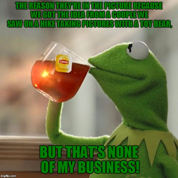 But Thats None Of My Business Meme | THE REASON THEY'RE IN THE PICTURE BECAUSE WE GOT THE IDEA FROM A COUPLE WE SAW ON A HIKE TAKING PICTURES WITH A TOY BEAR, BUT THAT'S NONE OF | image tagged in memes,but thats none of my business,kermit the frog | made w/ Imgflip meme maker