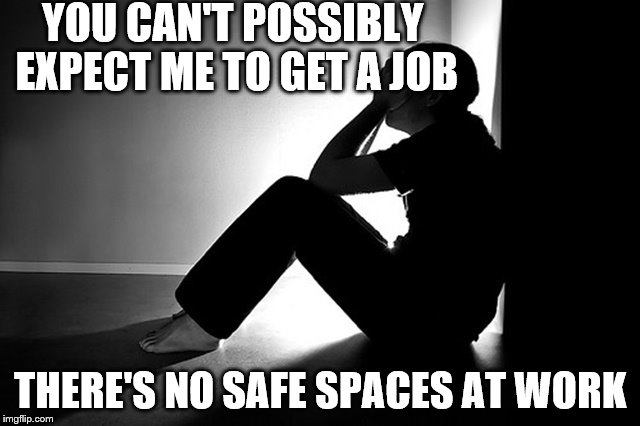 YOU CAN'T POSSIBLY EXPECT ME TO GET A JOB THERE'S NO SAFE SPACES AT WORK | made w/ Imgflip meme maker