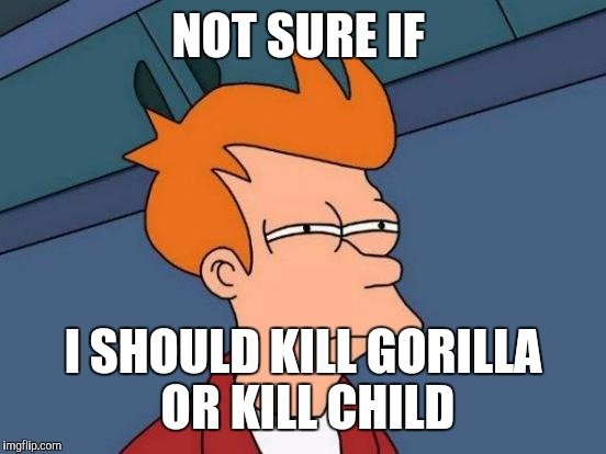 It's one of those decisions that get you deep | NOT SURE IF I SHOULD KILL GORILLA OR KILL CHILD | image tagged in memes,futurama fry,cincinnati,zoo | made w/ Imgflip meme maker