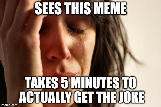 SEES THIS MEME TAKES 5 MINUTES TO ACTUALLY GET THE JOKE | image tagged in memes,first world problems | made w/ Imgflip meme maker