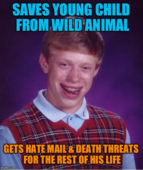 Bad Luck Brian Meme | SAVES YOUNG CHILD FROM WILD ANIMAL GETS HATE MAIL & DEATH THREATS FOR THE REST OF HIS LIFE | image tagged in memes,bad luck brian | made w/ Imgflip meme maker