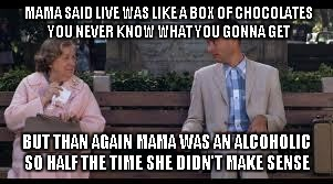 forrest gump box of chocolates | MAMA SAID LIVE WAS LIKE A BOX OF CHOCOLATES YOU NEVER KNOW WHAT YOU GONNA GET BUT THAN AGAIN MAMA WAS AN ALCOHOLIC SO HALF THE TIME SHE DIDN | image tagged in forrest gump box of chocolates | made w/ Imgflip meme maker