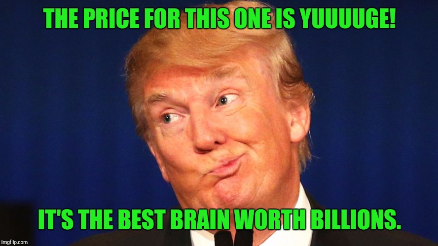 THE PRICE FOR THIS ONE IS YUUUUGE! IT'S THE BEST BRAIN WORTH BILLIONS. | made w/ Imgflip meme maker
