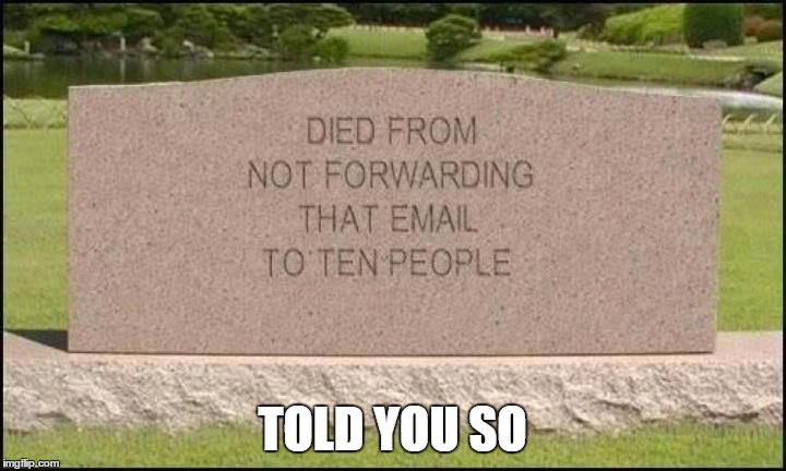 killed by spam | TOLD YOU SO | image tagged in memes | made w/ Imgflip meme maker