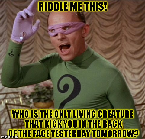 Riddle Me This! | RIDDLE ME THIS! WHO IS THE ONLY LIVING CREATURE THAT KICK YOU IN THE BACK OF THE FACE YESTERDAY TOMORROW? | image tagged in the riddler,funny,batman,memes,dc comics | made w/ Imgflip meme maker