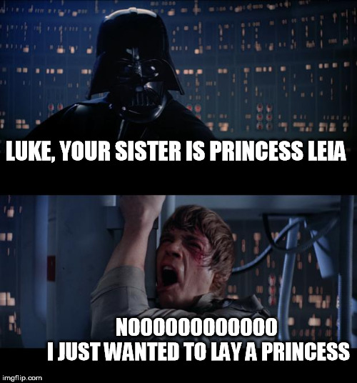 Star Wars No Meme | LUKE, YOUR SISTER IS PRINCESS LEIA NOOOOOOOOOOOO                I JUST WANTED TO LAY A PRINCESS | image tagged in memes,star wars no,luke skywalker,darth vader,darth vader luke skywalker,star wars | made w/ Imgflip meme maker