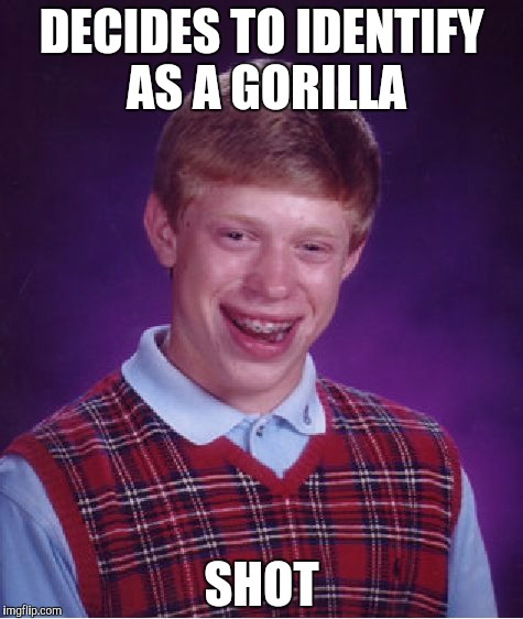 Bad Luck Brian Meme | DECIDES TO IDENTIFY AS A GORILLA SHOT | image tagged in memes,bad luck brian,gorilla | made w/ Imgflip meme maker