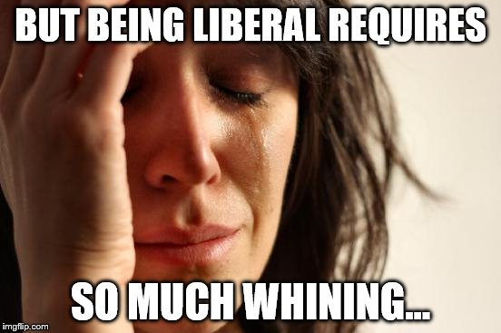 First World Problems Meme | BUT BEING LIBERAL REQUIRES SO MUCH WHINING... | image tagged in memes,first world problems | made w/ Imgflip meme maker