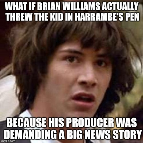 Conspiracy Keanu Meme | WHAT IF BRIAN WILLIAMS ACTUALLY THREW THE KID IN HARRAMBE'S PEN BECAUSE HIS PRODUCER WAS DEMANDING A BIG NEWS STORY | image tagged in memes,conspiracy keanu | made w/ Imgflip meme maker