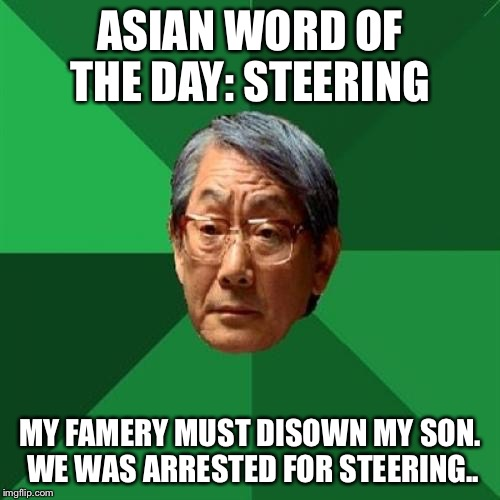 High Expectations Asian Father Meme |  ASIAN WORD OF THE DAY: STEERING; MY FAMERY MUST DISOWN MY SON. WE WAS ARRESTED FOR STEERING.. | image tagged in memes,high expectations asian father | made w/ Imgflip meme maker