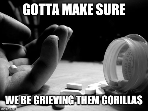 GOTTA MAKE SURE WE BE GRIEVING THEM GORILLAS | made w/ Imgflip meme maker
