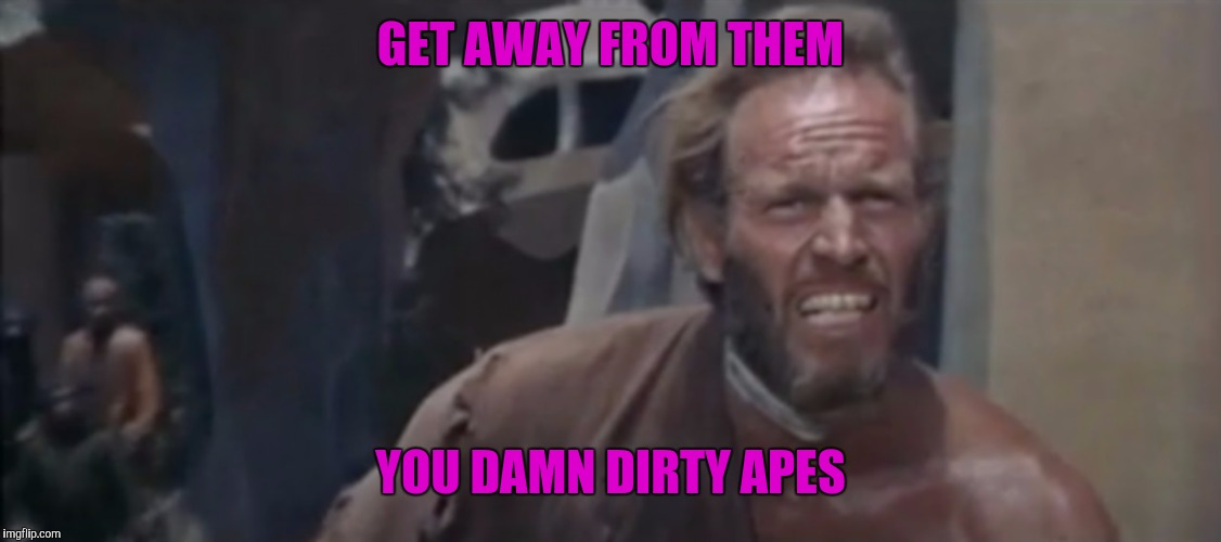 GET AWAY FROM THEM YOU DAMN DIRTY APES | made w/ Imgflip meme maker