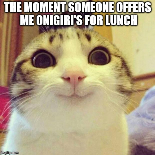 Smiling Cat Meme | THE MOMENT SOMEONE OFFERS ME ONIGIRI'S FOR LUNCH | image tagged in memes,smiling cat | made w/ Imgflip meme maker