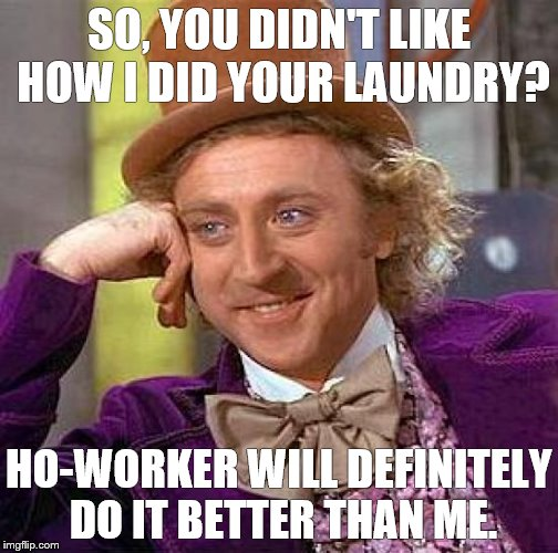 Creepy Condescending Wonka Meme | SO, YOU DIDN'T LIKE HOW I DID YOUR LAUNDRY? HO-WORKER WILL DEFINITELY DO IT BETTER THAN ME. | image tagged in memes,creepy condescending wonka | made w/ Imgflip meme maker