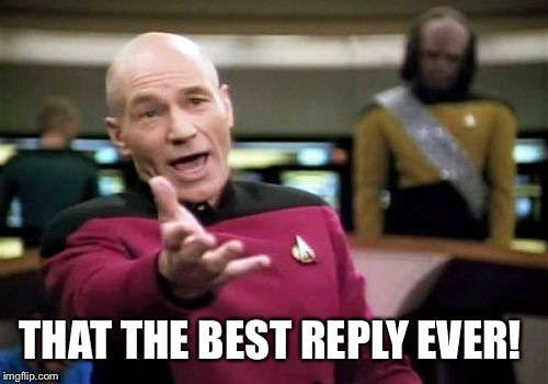 Picard Wtf Meme | THAT THE BEST REPLY EVER! | image tagged in memes,picard wtf | made w/ Imgflip meme maker