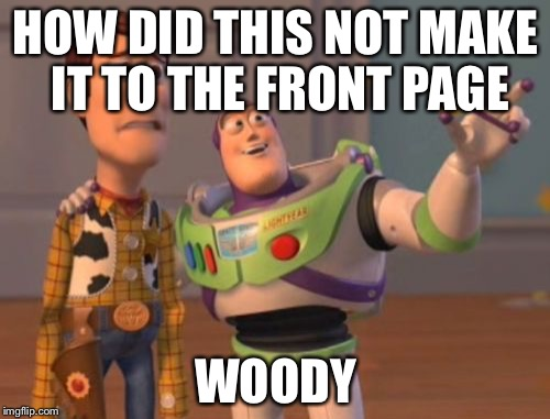X, X Everywhere Meme | HOW DID THIS NOT MAKE IT TO THE FRONT PAGE WOODY | image tagged in memes,x x everywhere | made w/ Imgflip meme maker