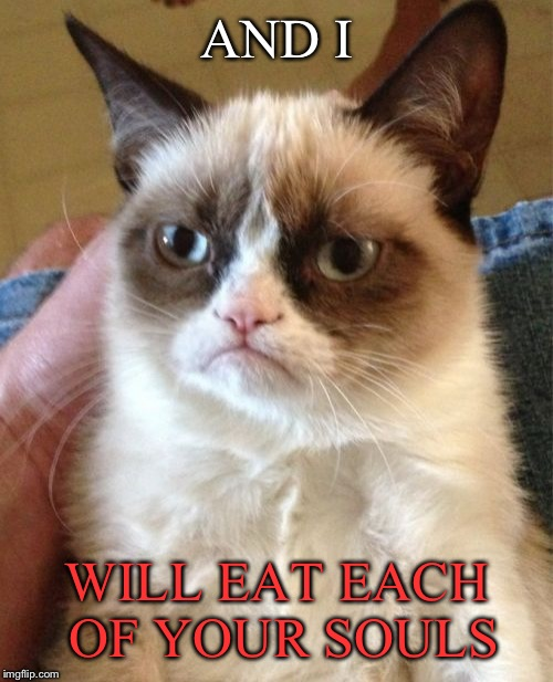 Grumpy Cat Meme | AND I WILL EAT EACH OF YOUR SOULS | image tagged in memes,grumpy cat | made w/ Imgflip meme maker