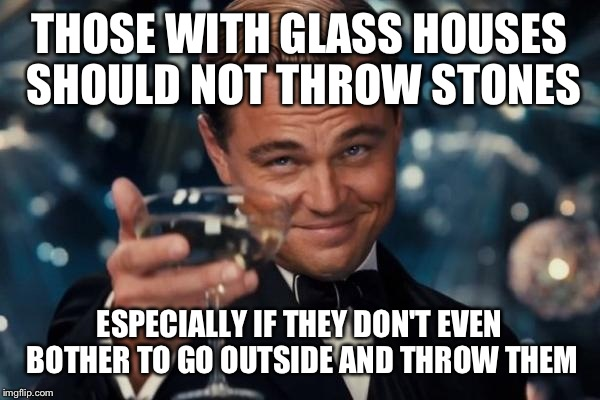 Leonardo Dicaprio Cheers Meme | THOSE WITH GLASS HOUSES SHOULD NOT THROW STONES ESPECIALLY IF THEY DON'T EVEN BOTHER TO GO OUTSIDE AND THROW THEM | image tagged in memes,leonardo dicaprio cheers | made w/ Imgflip meme maker